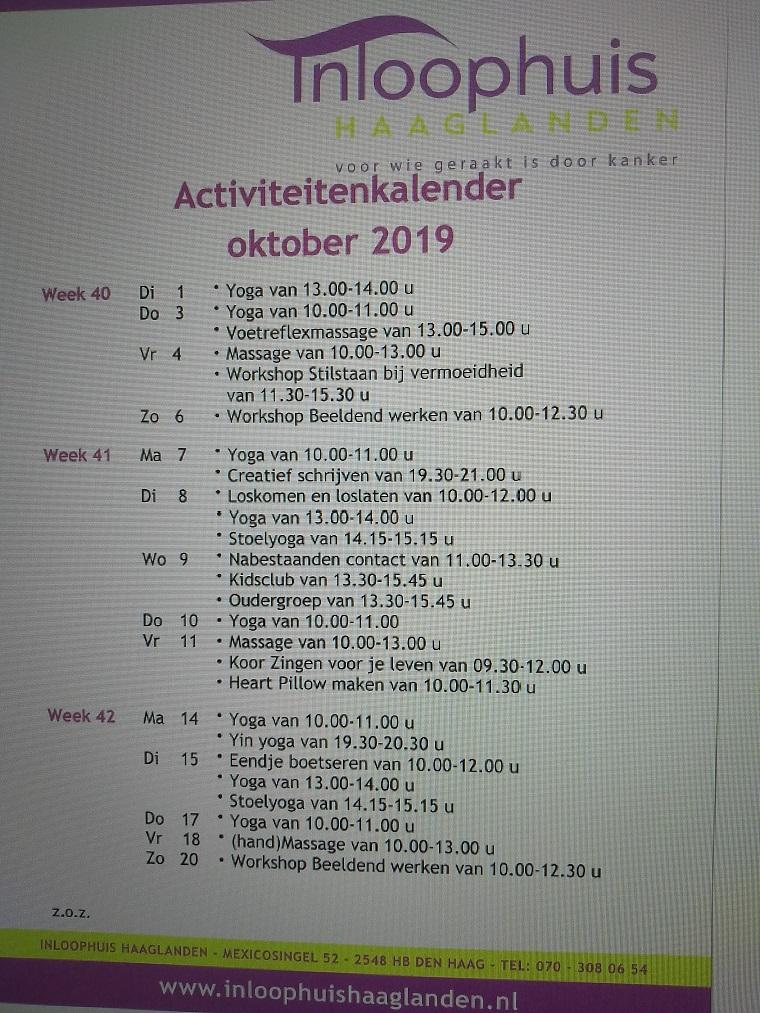aktiviteitenkalender okt 2019 2